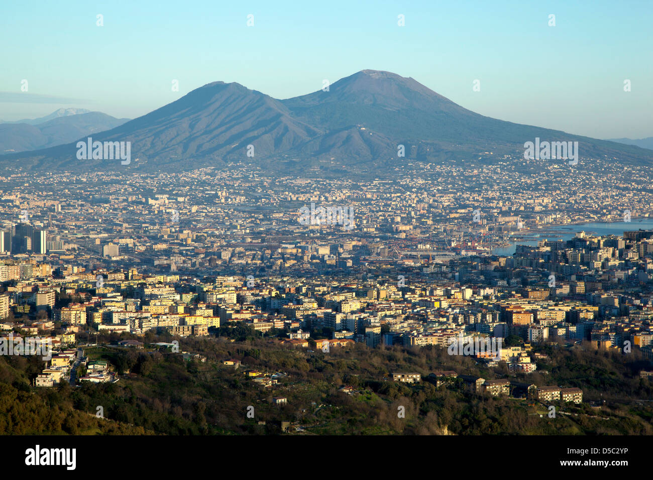 Overview of Naples and Vesuvius - Stock Image