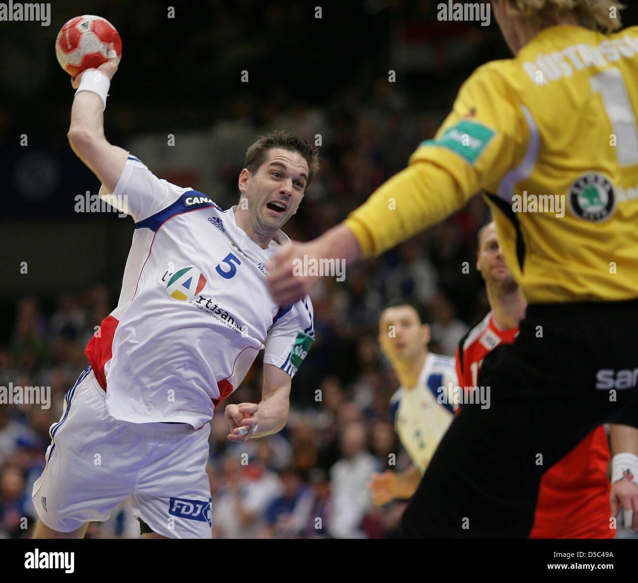 Handball-Europameisterschaft in Österreich: am Samstag (30.01.2010) in Wien. Halbfinale, Island - Frankreich. - Stock Image