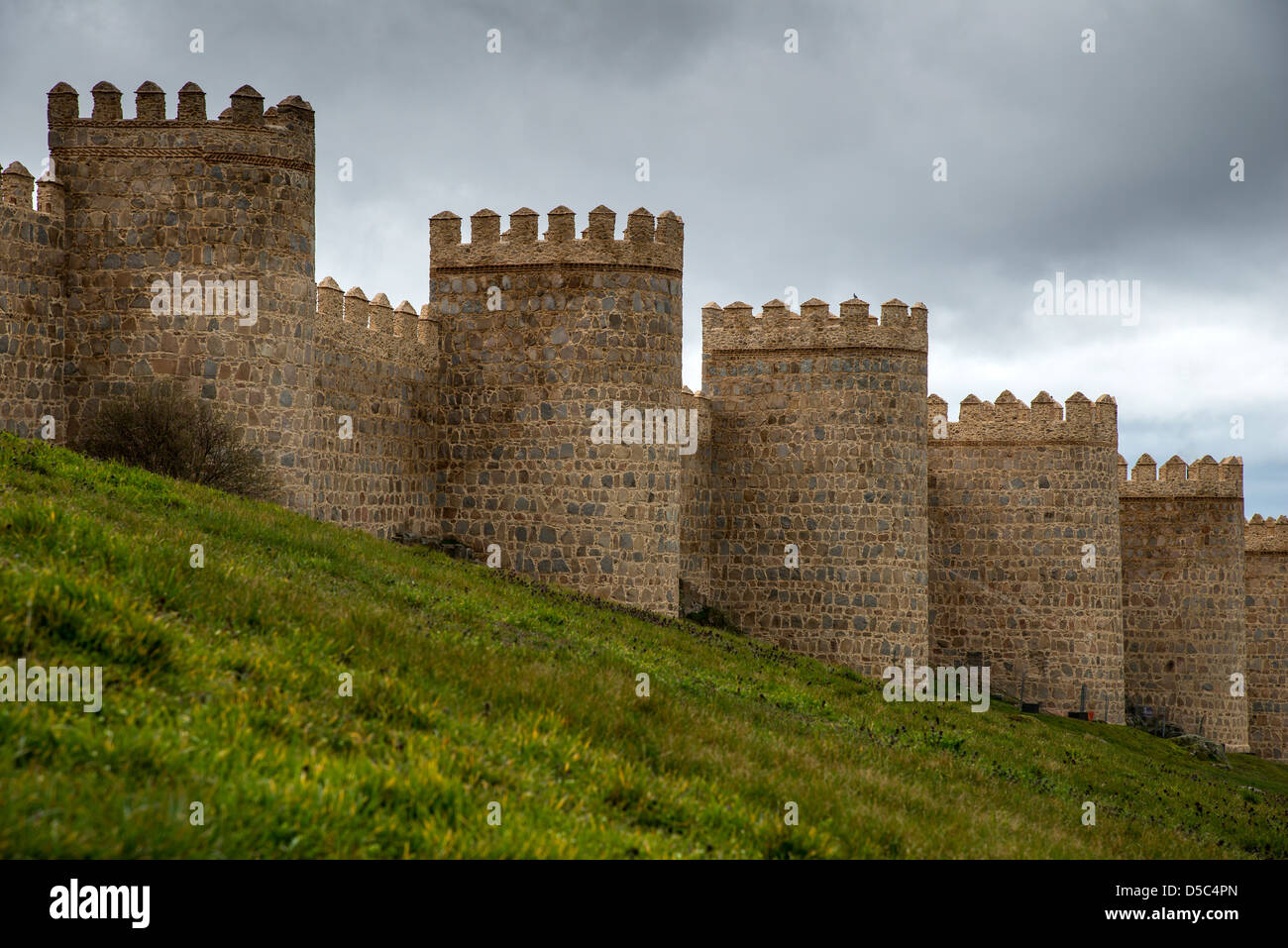 The medieval city walls of Avila, Castile and León, Spain - Stock Image