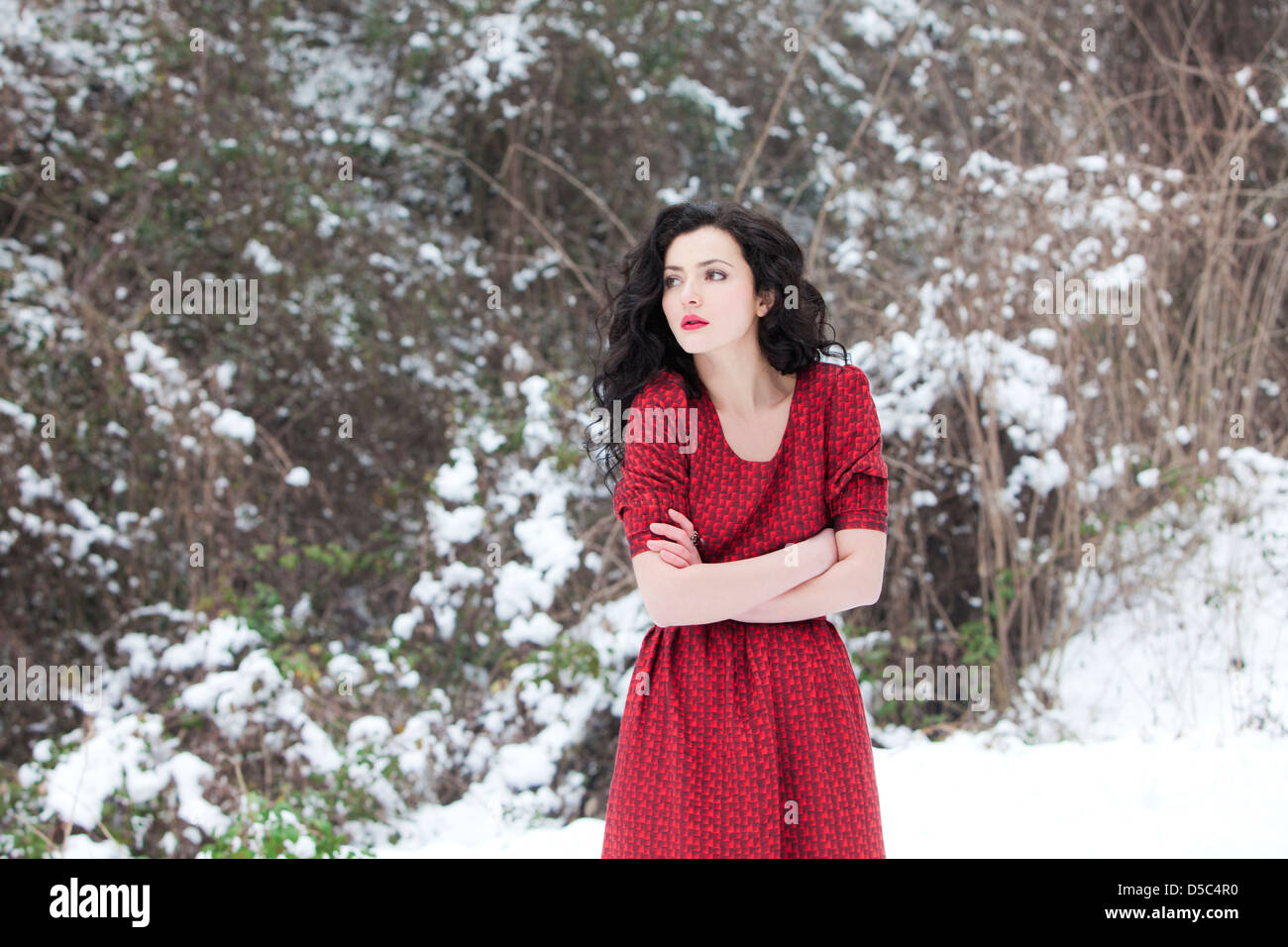 shivering woman and snow stock photos shivering woman and snow