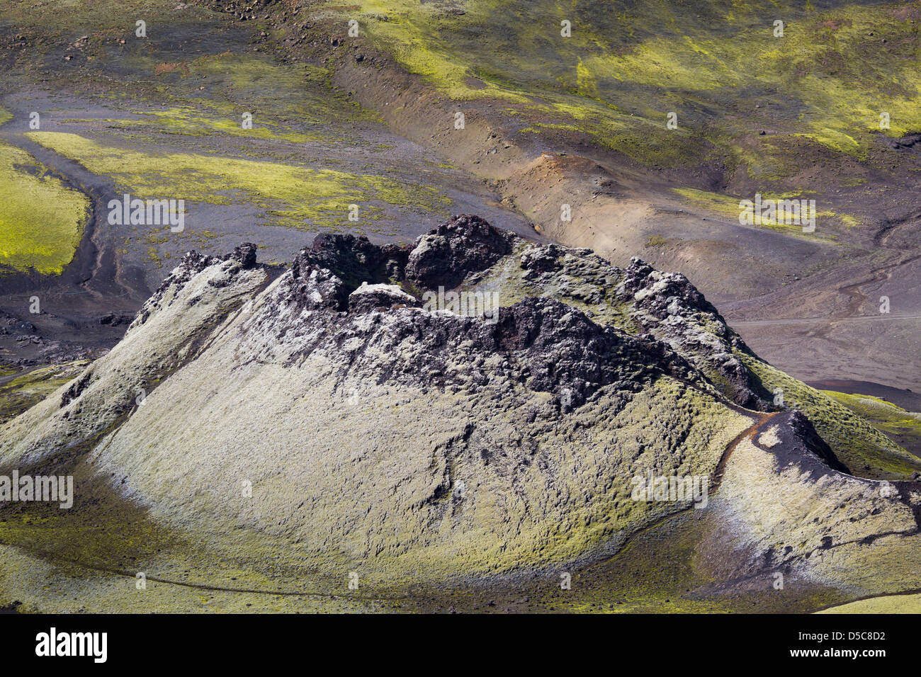 One crater that is part of the caldera at Laki. - Stock Image