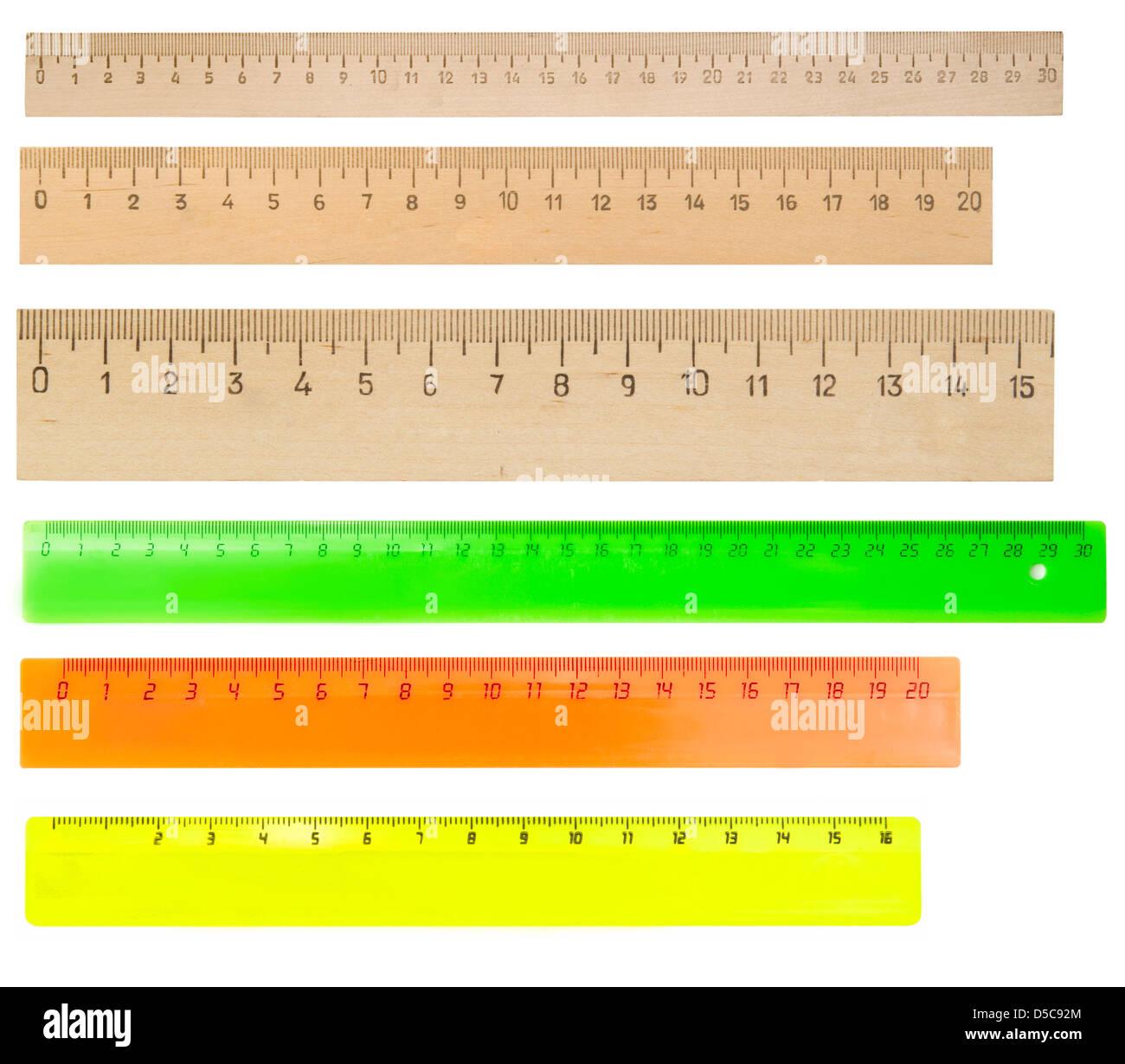 rulers isolated on white background - Stock Image