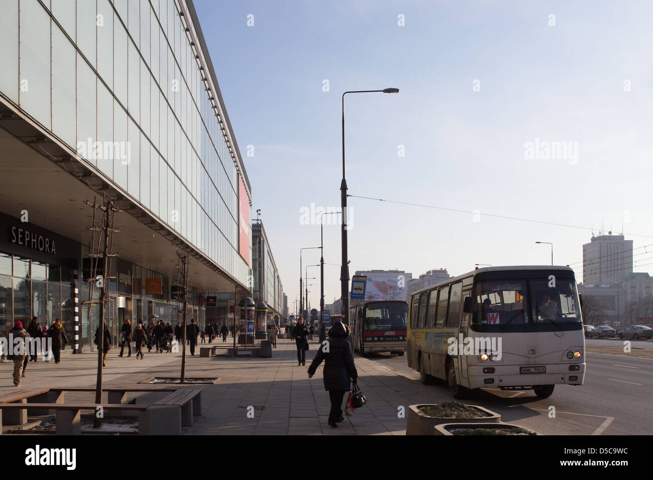 Warsaw, Poland, in front of passers-department stores in the Marszalkowska - Stock Image