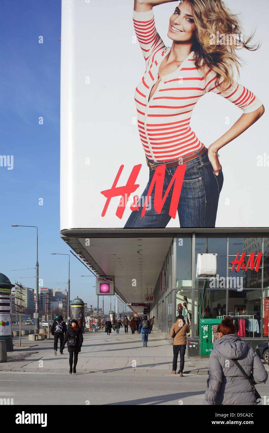 Warsaw, Poland, department stores and H & M billboard on Marszakowska - Stock Image