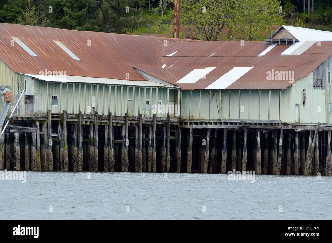 Buiding on pier in Kake, Alaska. - Stock Image