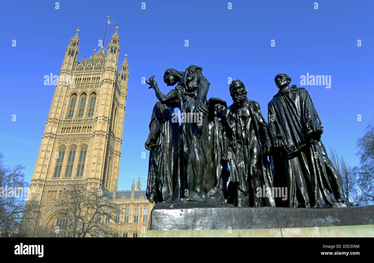 Les Bourgeois de Calais or The Burghers of Calais in Victoria Tower Gardens, Westminster in London, UK - Stock Image