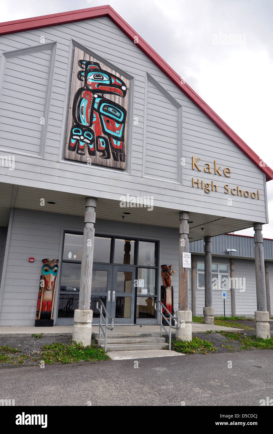 School in the Tlingit town of Kake, Alaska. - Stock Image