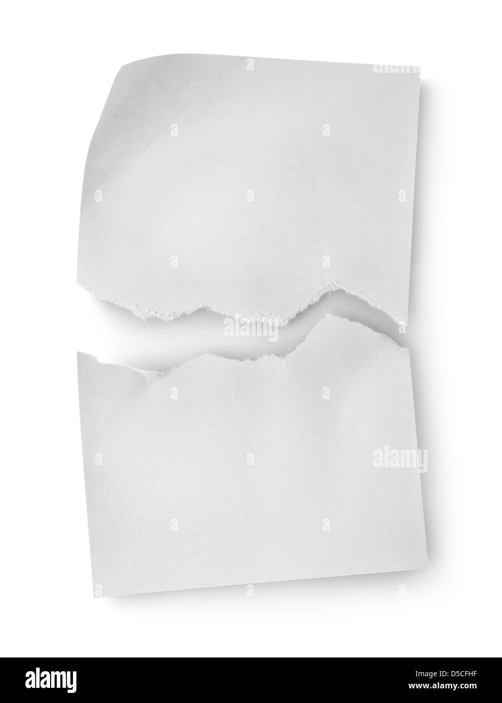 Sheet of white paper isolated on white background - Stock Image