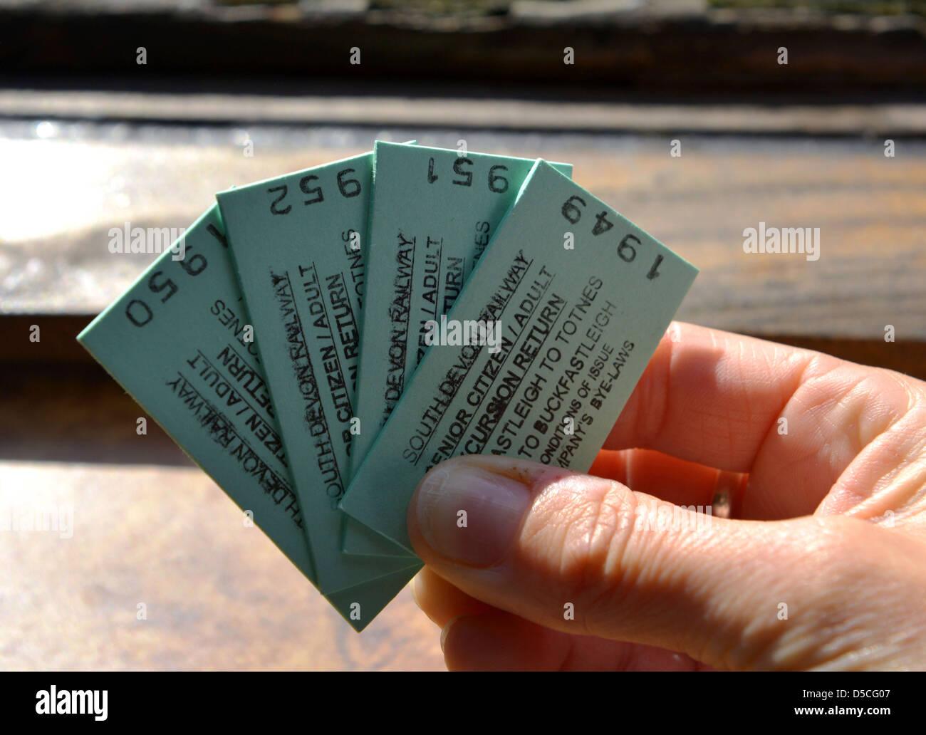 Tickets for The South Devon Railway that runs from Buckfastleigh, to Totnes in Devon, Britain, UK - Stock Image