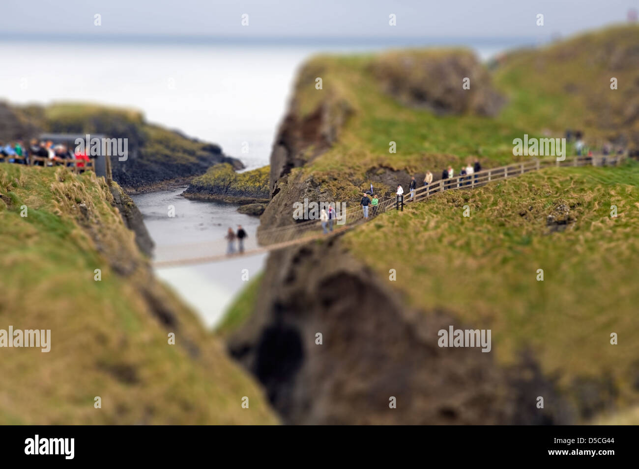 Carrick-a-rede Rope bridge - Giant causeway coastal road - Northern Ireland - UK - Stock Image
