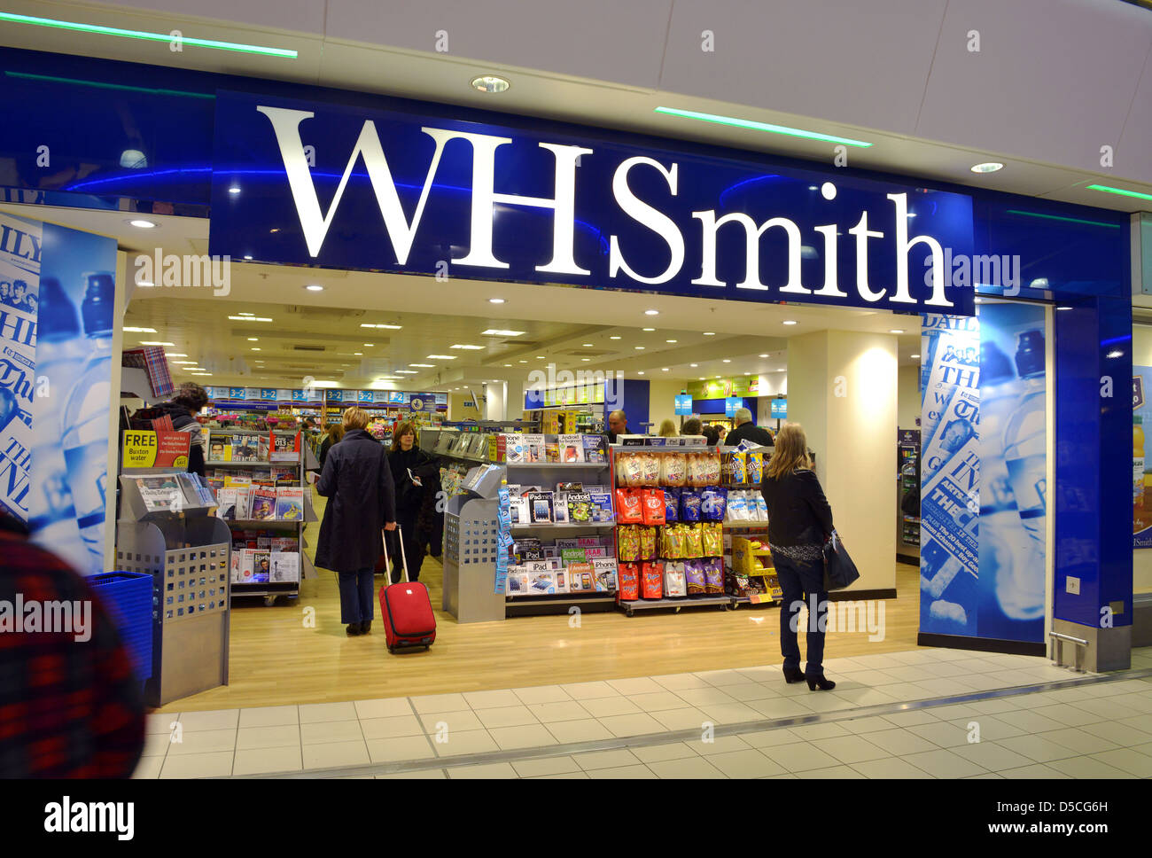 WH Smith shop at Luton Airport, Britain, UK - Stock Image