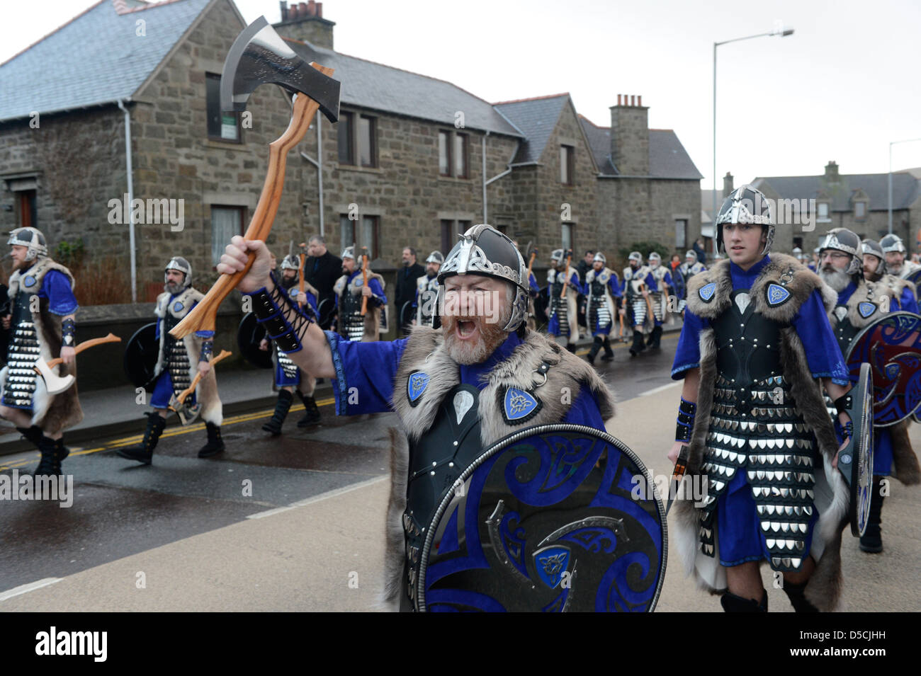 Up Helly Aa 2013 Europe's largest fire festival held in Lerwick the capital of Shetland Scotland UK - Stock Image