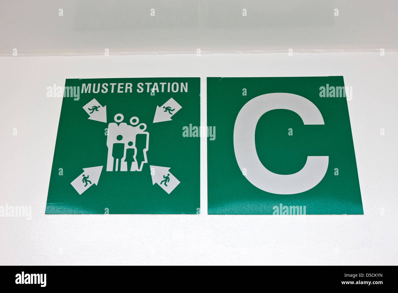 muster station C assembly point on board a ship norway europe - Stock Image