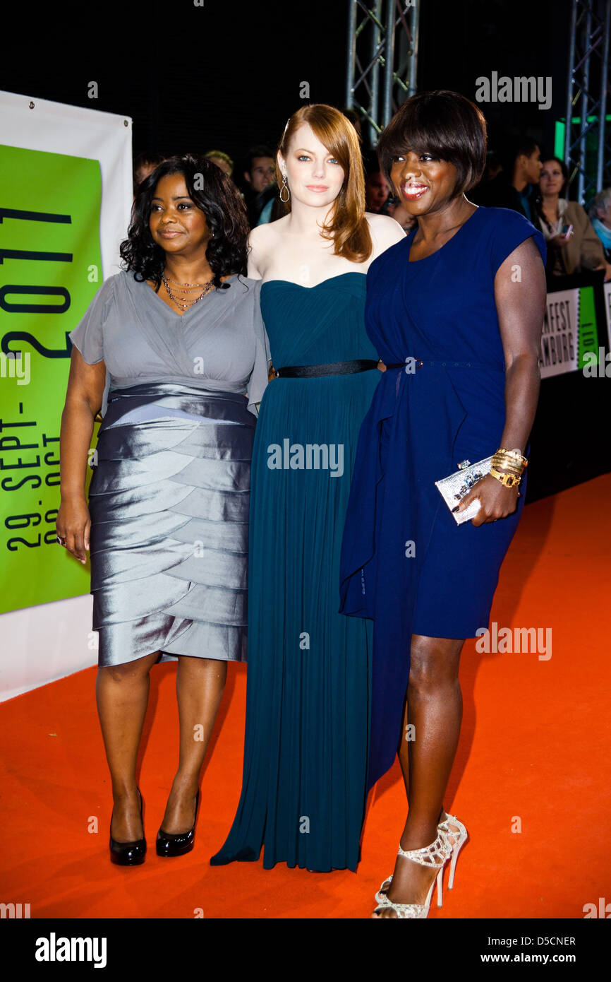 Octavia Spencer Emma Stone And Viola Davis At The Premiere Of The Stock Photo Alamy