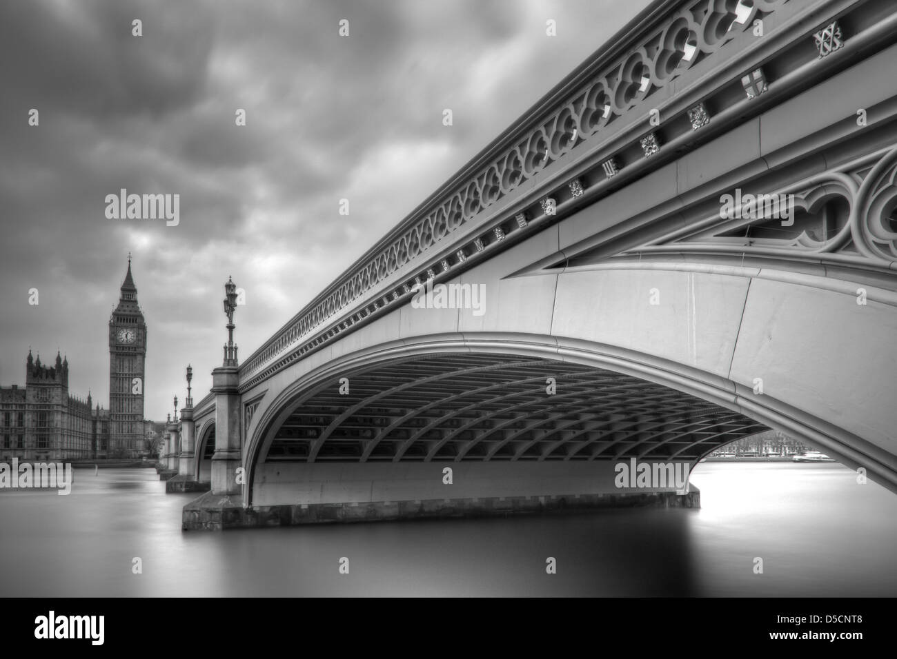 Westminster Bridge, Big Ben and The Houses of Parliament, London, England - Stock Image