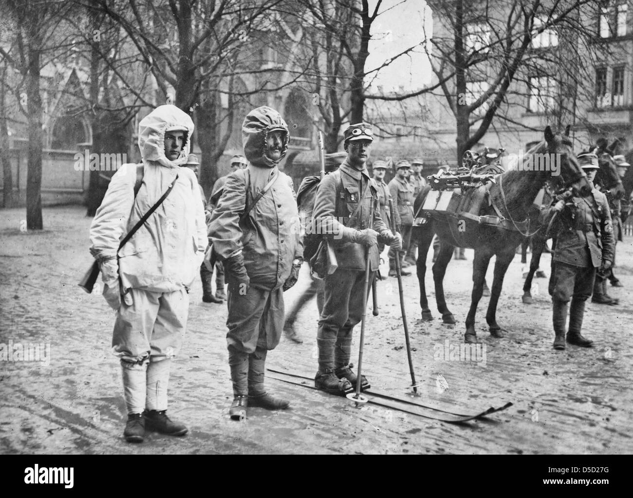 Uniform of German Snowshoe Battalion, circa 1910 - Stock Image