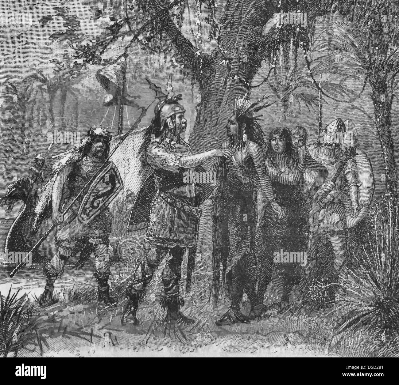 Vikings meeting with American Indians in pre colonial America - Stock Image