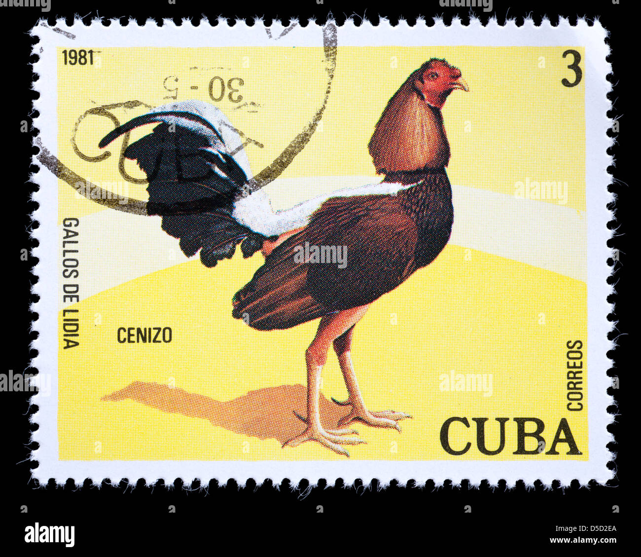 Postage Stamp From Cuba Depicting A Rooster