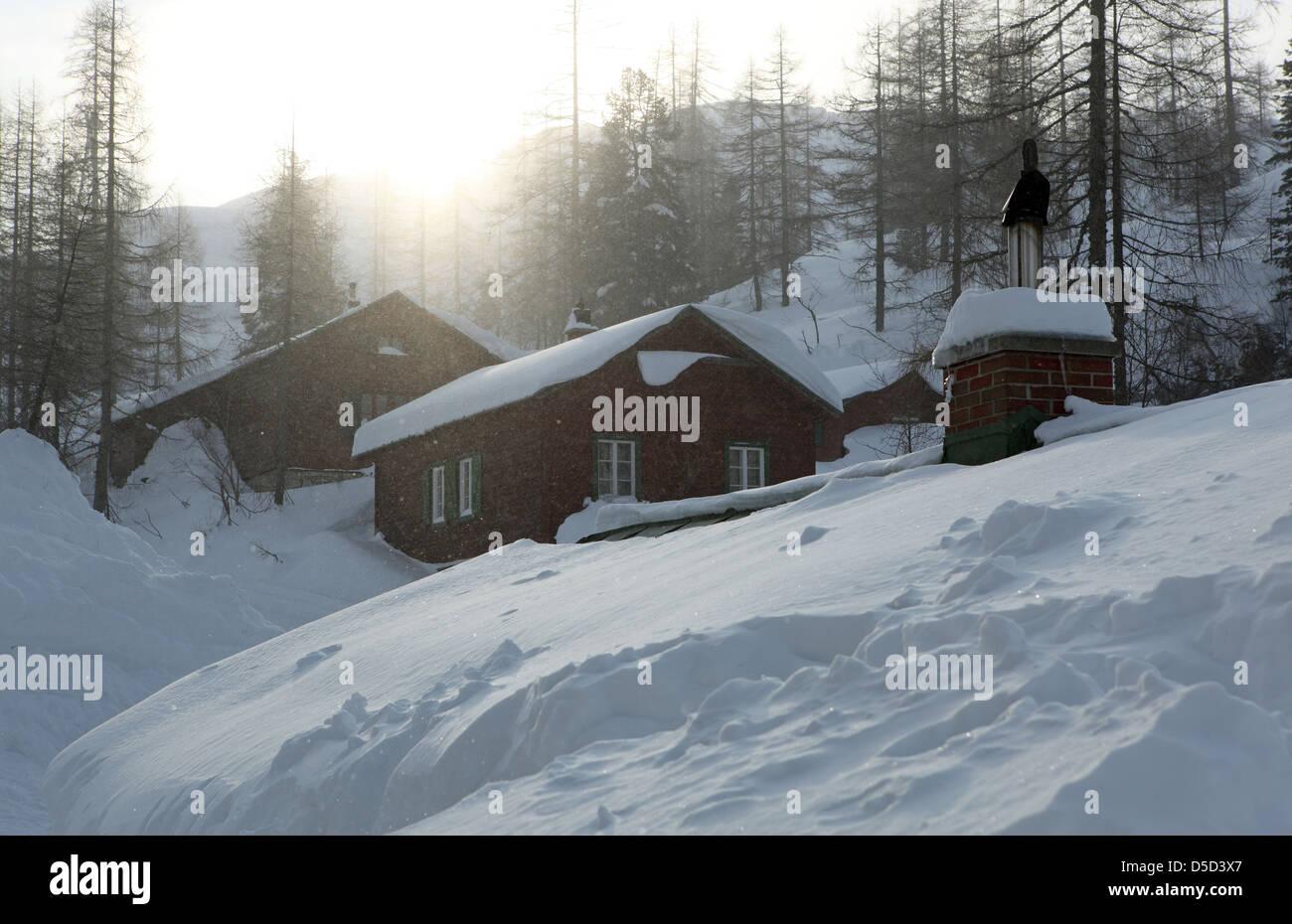 Krippenbrunn, Austria, snowed-in wooden huts - Stock Image