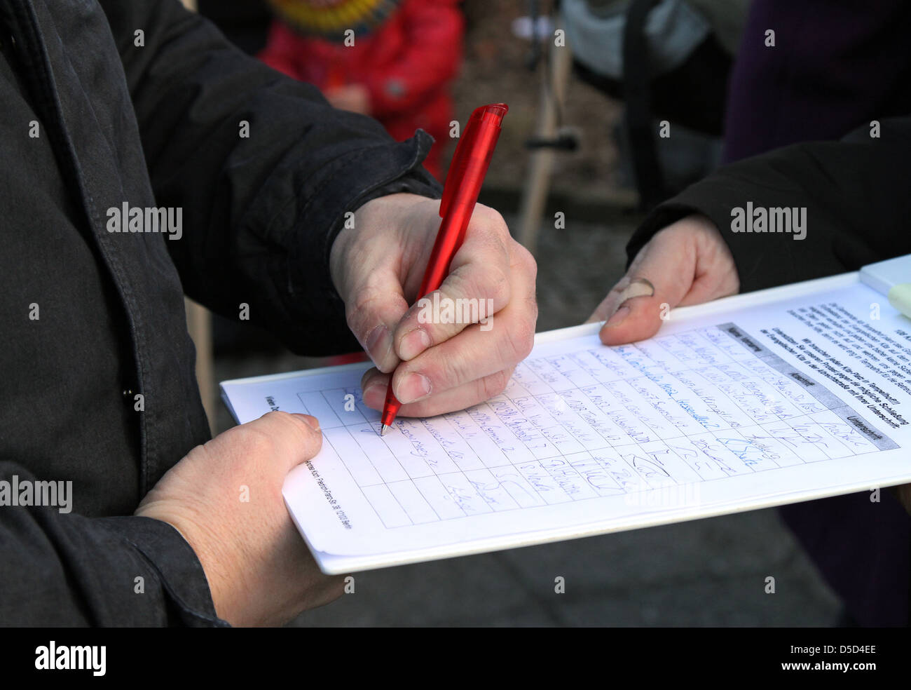 Berlin, Germany, entry in a petition - Stock Image