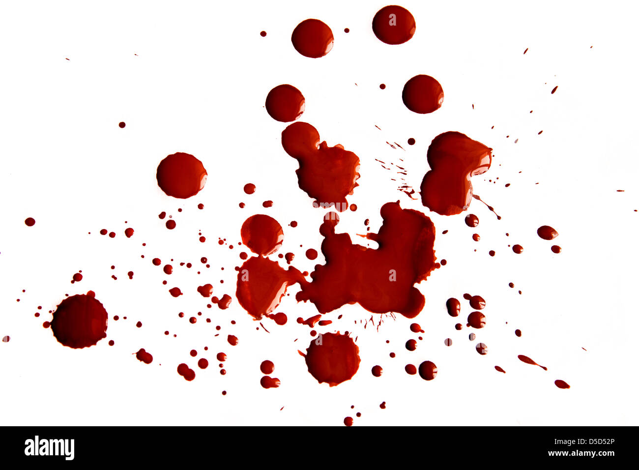 Blood stains isolated on white background - Stock Image