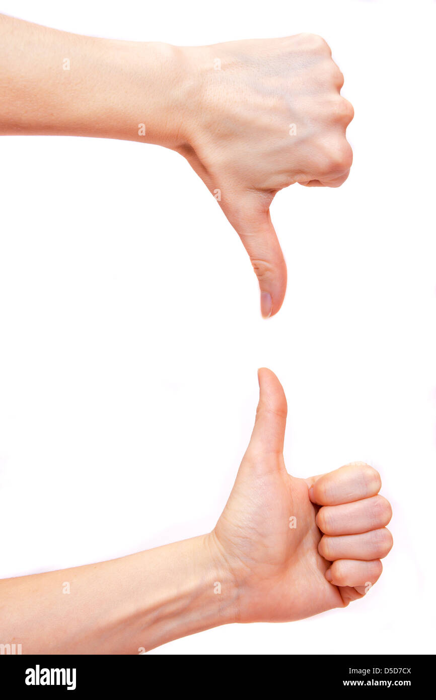 Thumbs up and down isolated on white background - Stock Image