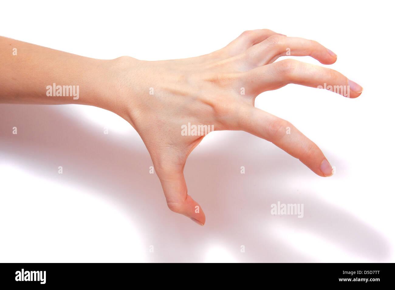 Scary, frightening hand isolated on white background - Stock Image