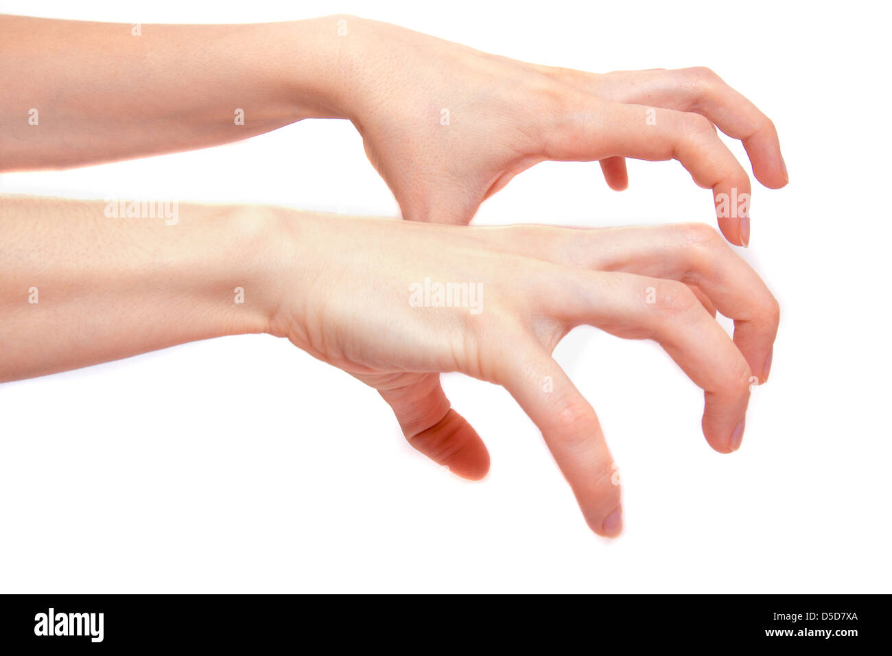 Scary, frightening hands isolated on white background - Stock Image