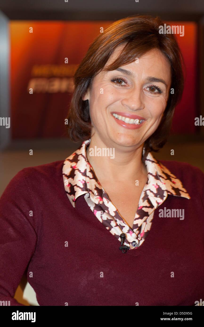 "Sandra Maischberger on German WDR TV talkshow ""Menschen bei Maischberger"". Cologne Germany Stock Photo"