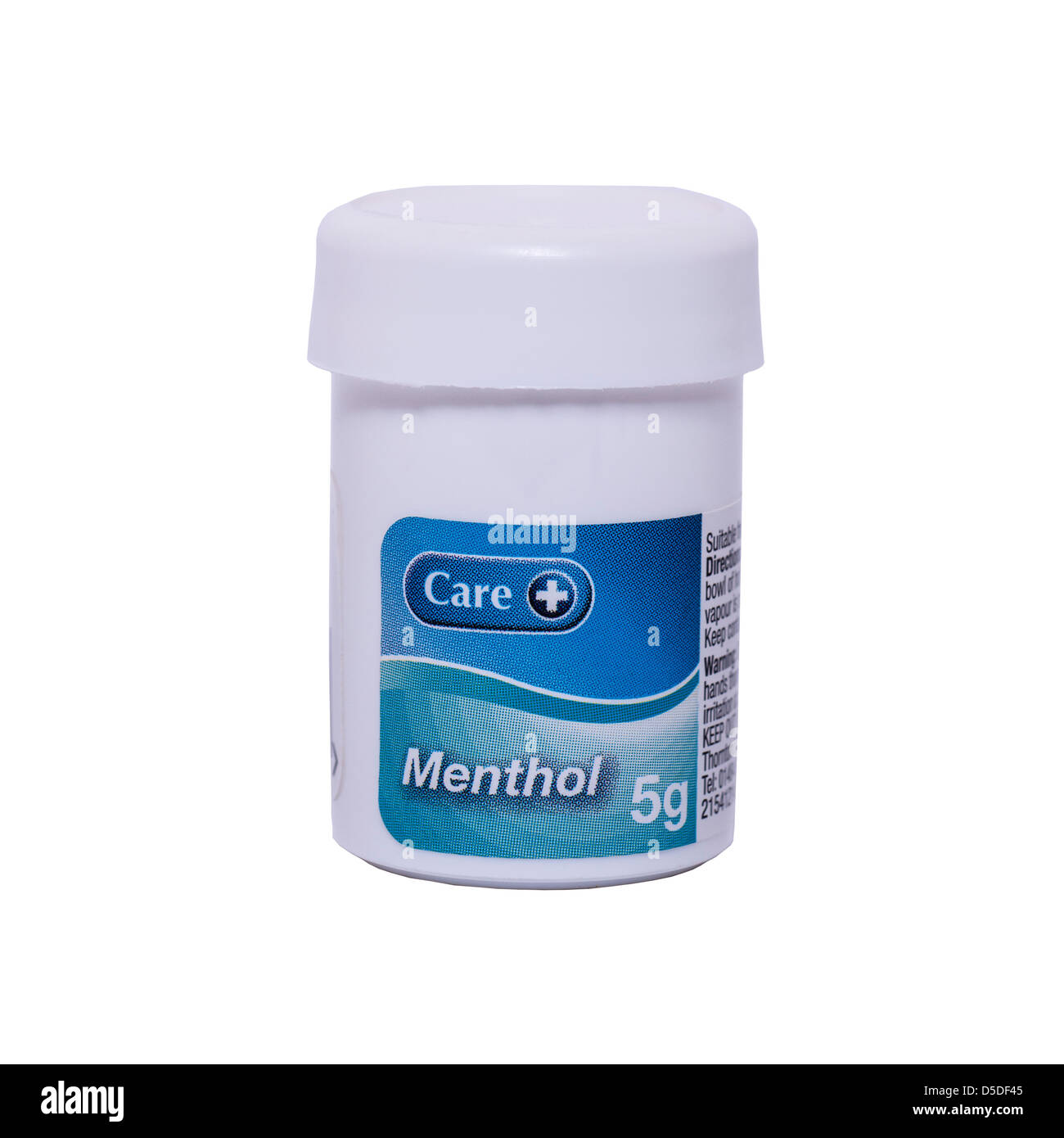 A tub of Menthol crystals for clearing congestion on a white background - Stock Image
