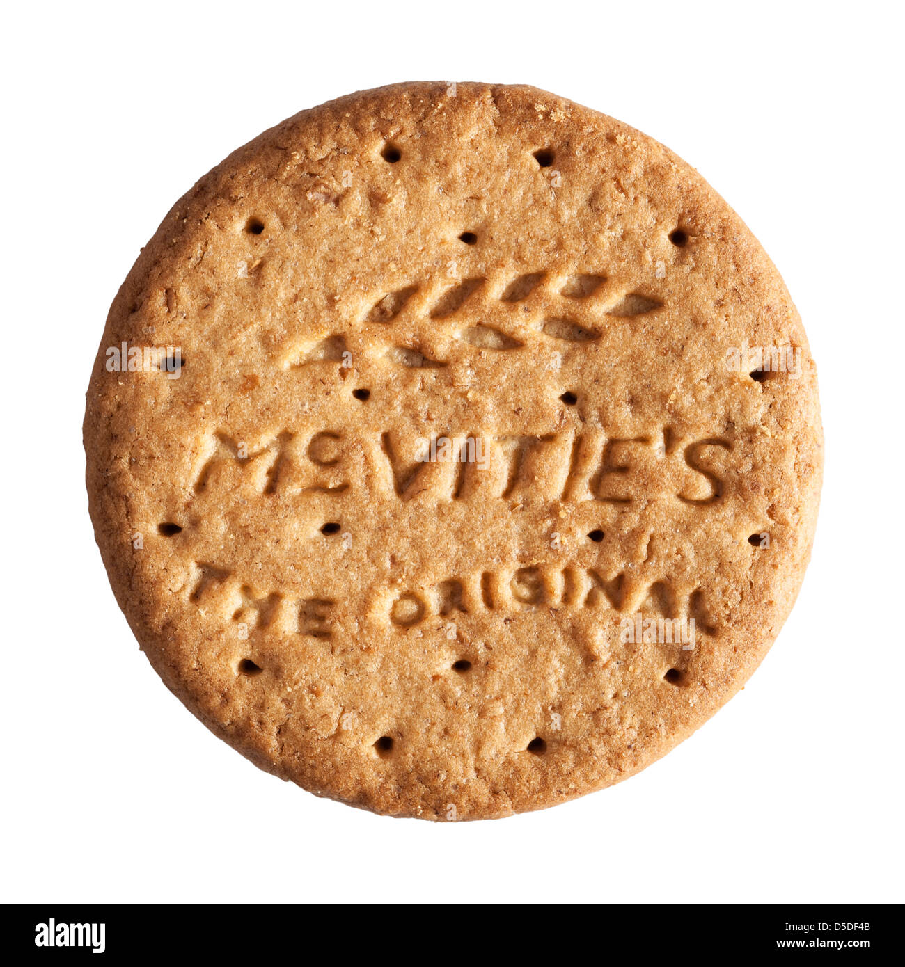 A Mcvitie's original digestive biscuit on a white background - Stock Image