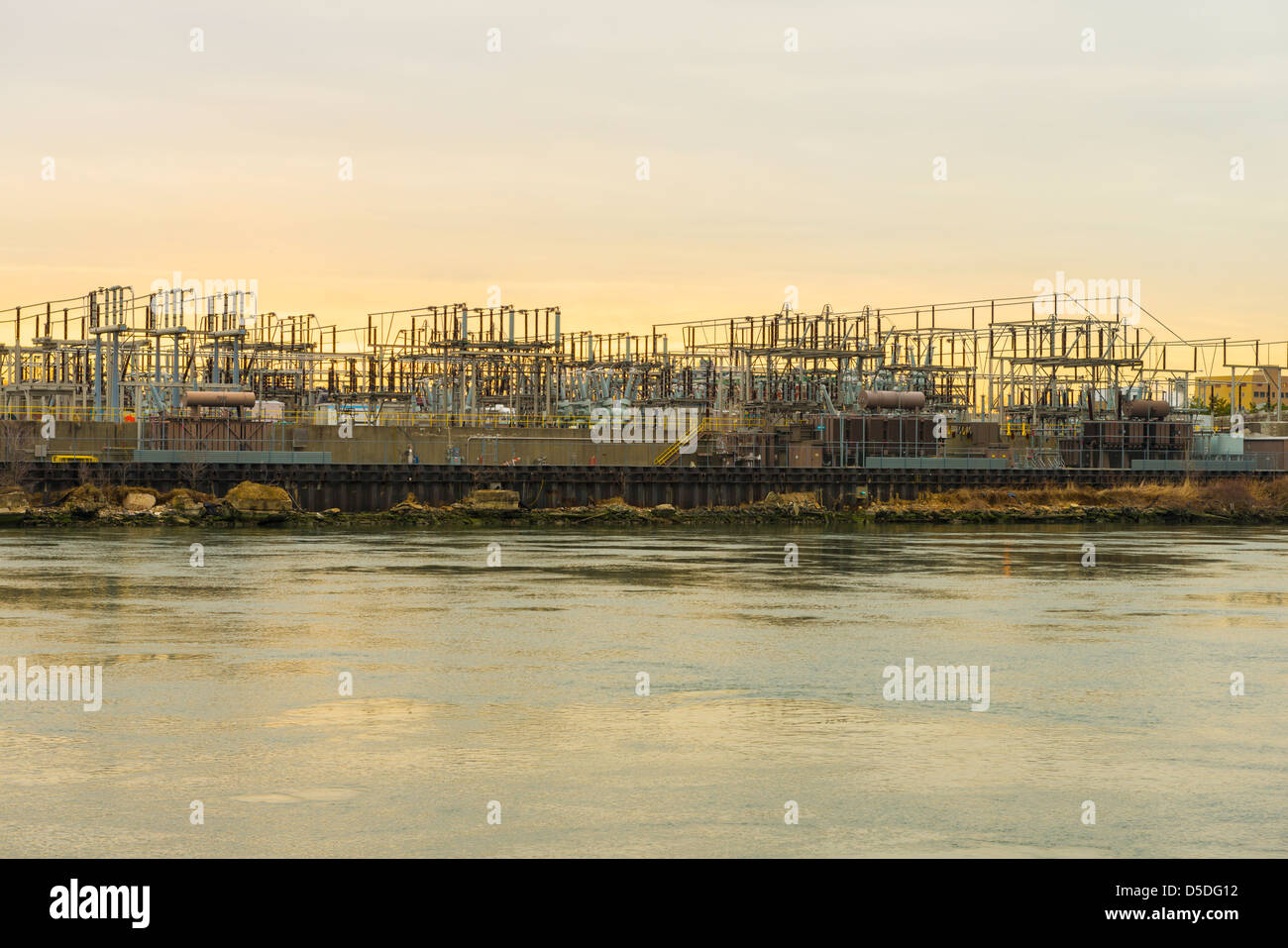 View of electricity equipment at Ravenswood Generating Station, Long Island City, Queens, New York.  Seen from Roosevelt - Stock Image