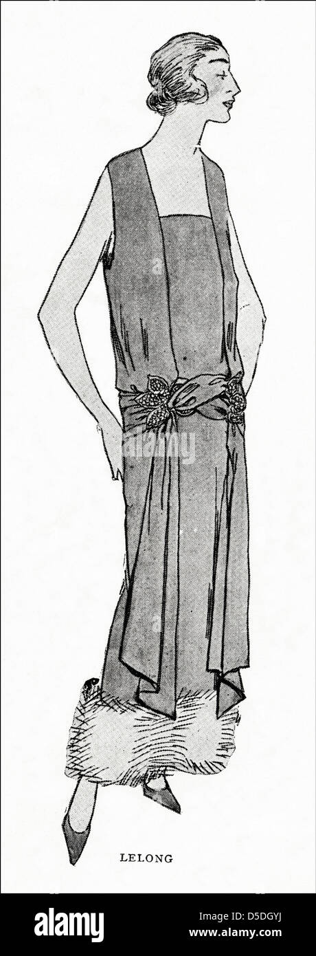 Paris Fashion Of 1923 By Designer Lucien Lelong Gown Pervenche Blue And Silver Tissue