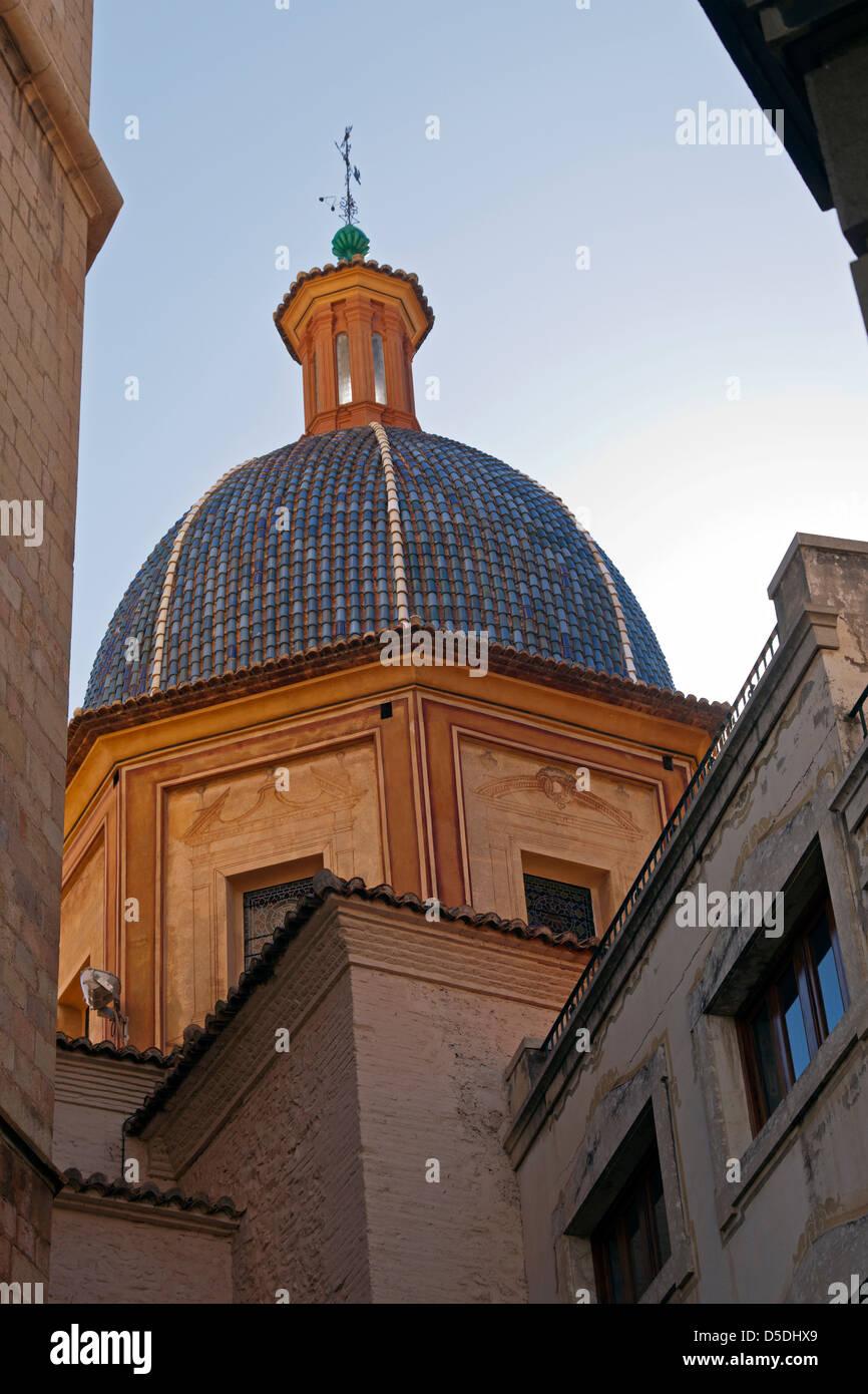 Burriana, Valenciana, Spain. The blue tiled dome of the church of El Salvador. - Stock Image