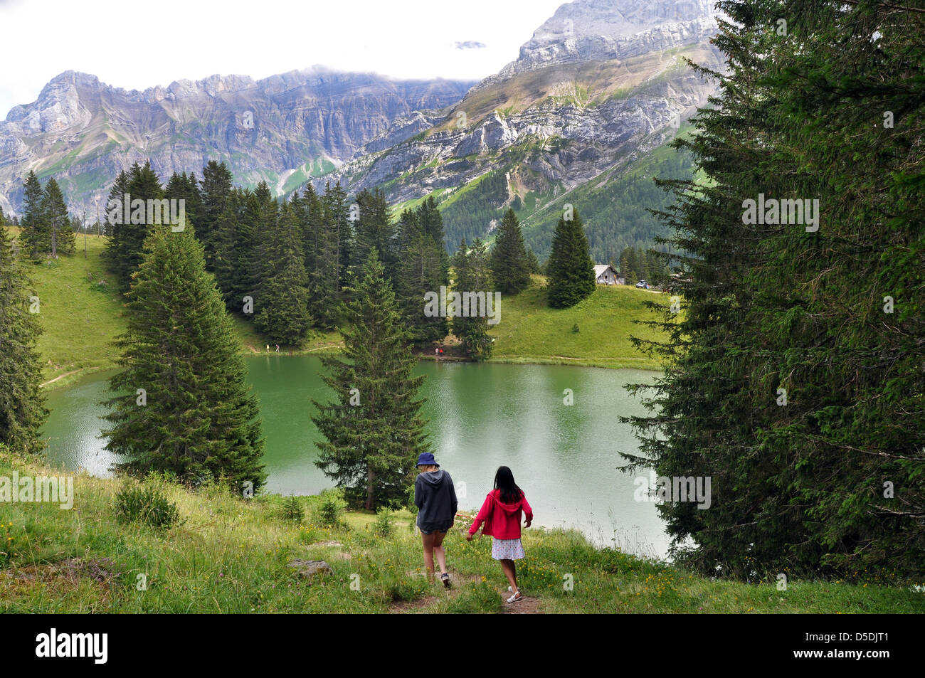 walking in the Swiss lakes and Alps - Stock Image