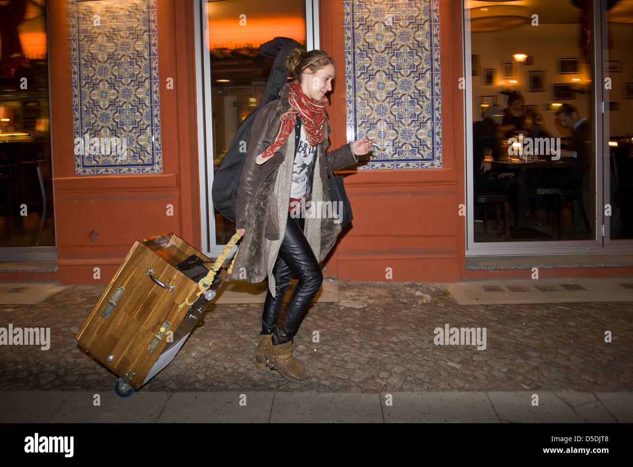 Berlin, Germany, Elen Wendt, street musician and participant in The Voice of Germany - Stock Image