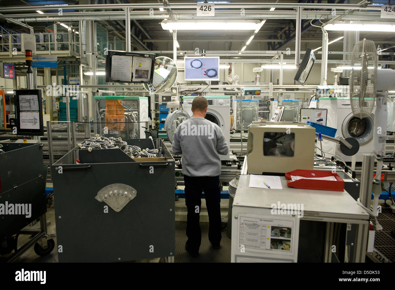 Nauen, of Germany, and employees in the BSH home appliance Nauen GmbH - Stock Image