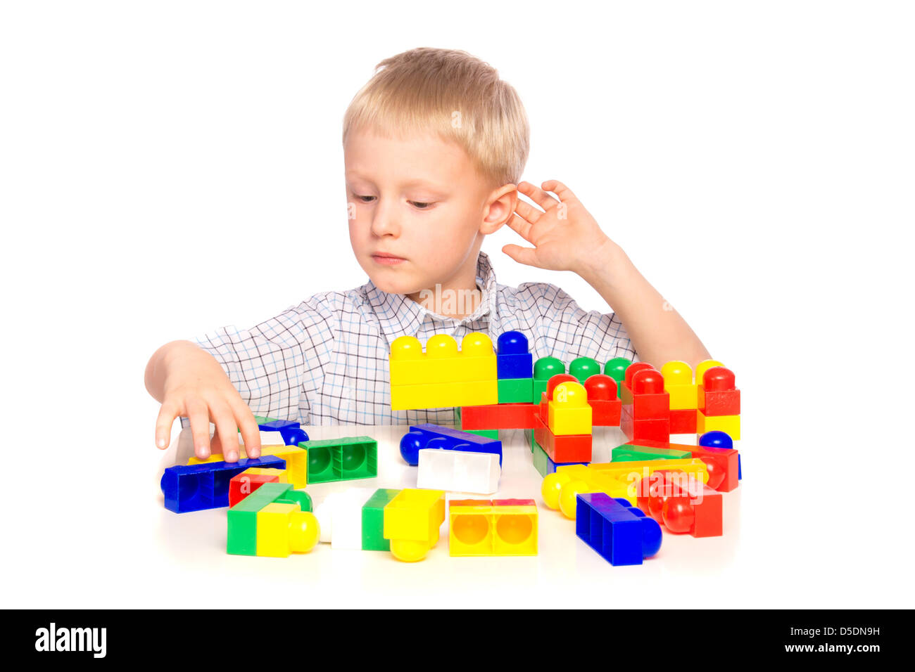 boy child build play constructor plastic creative - Stock Image