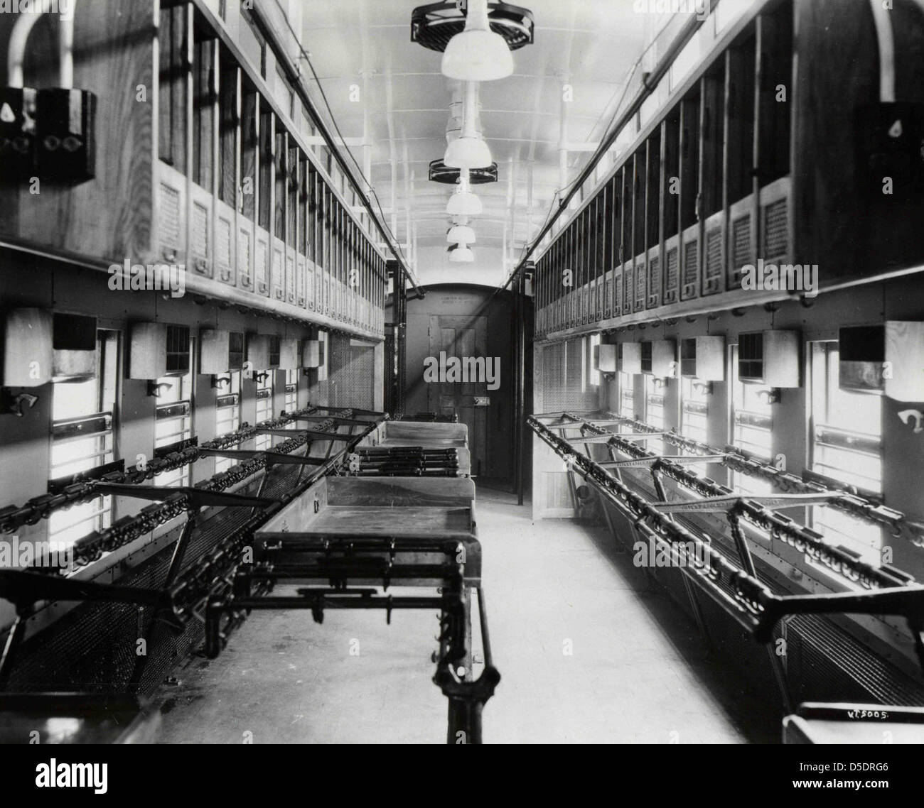 Interior of a Railway Post Office Car - Stock Image
