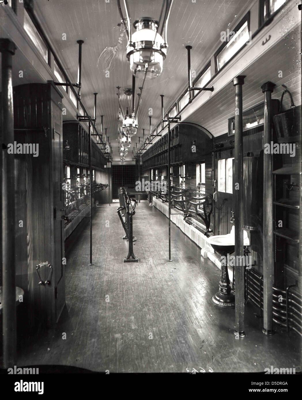 Interior of Railway Post Office Car - Stock Image