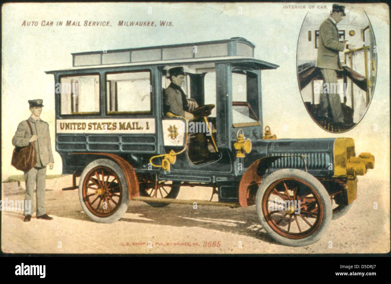 Postcard of the Milwaukee Mail Car - Stock Image