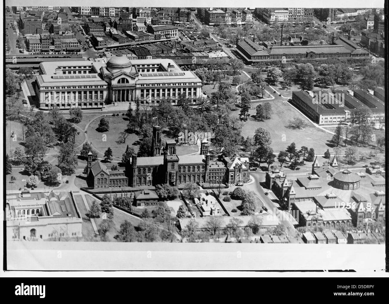 Aerial View of Smithsonian Institution Building and Natural History Building - Stock Image