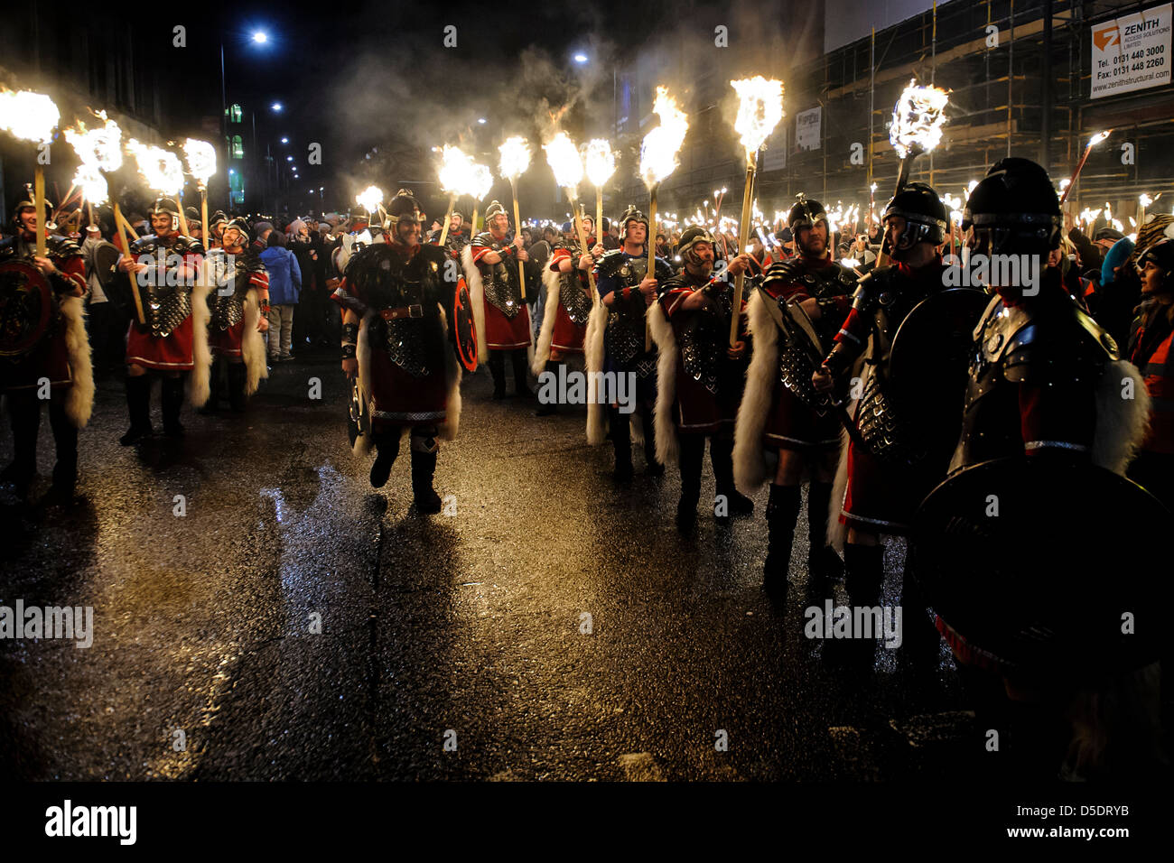 Spectacular torchlight procession in Edinburgh to launch the hogmanay celebrations led by 26 Up Helly Aa' Vikings Stock Photo