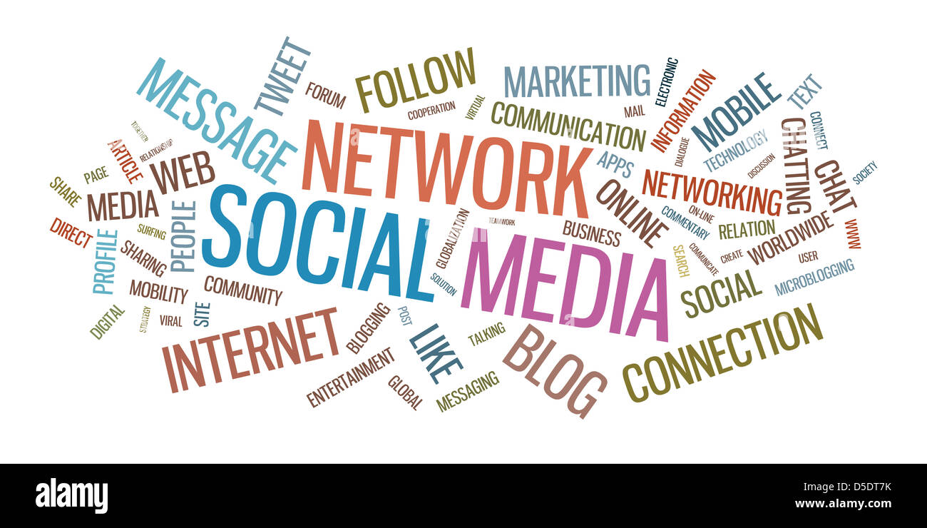 Social media word cloud vector illustration. Isolated on white background. - Stock Image