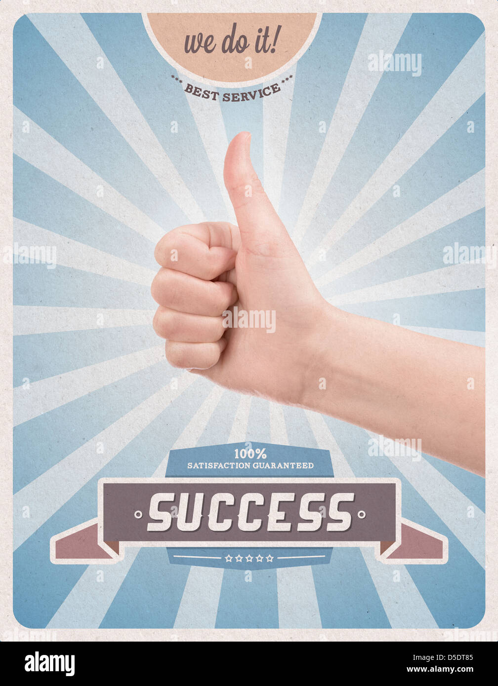 Retro or vintage advertising poster with hand giving a thumbs up gesture  promising of best service and 100% success