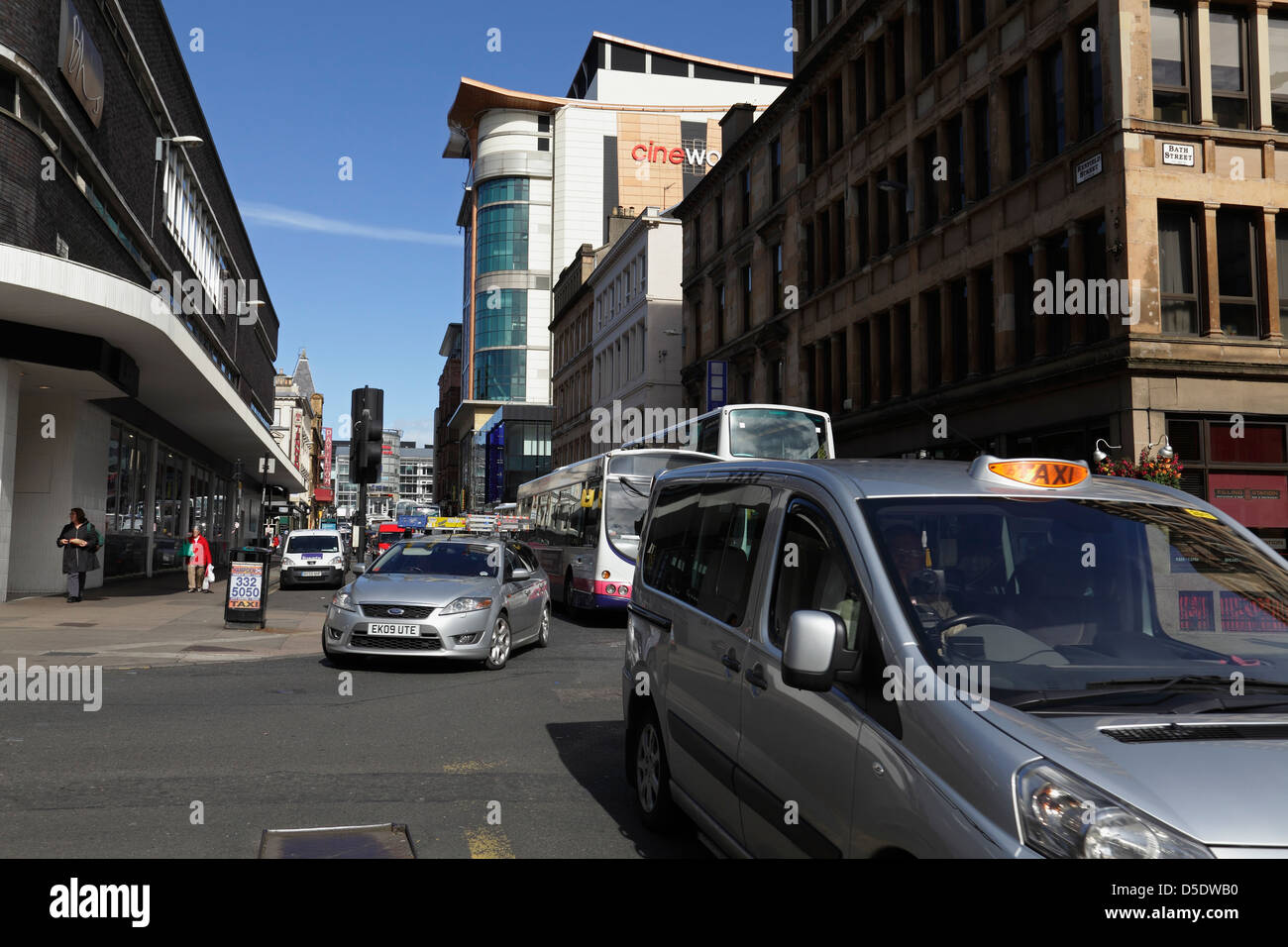 View North up Renfield Street from the junction with Bath Street in Glasgow city centre, Scotland, UK - Stock Image