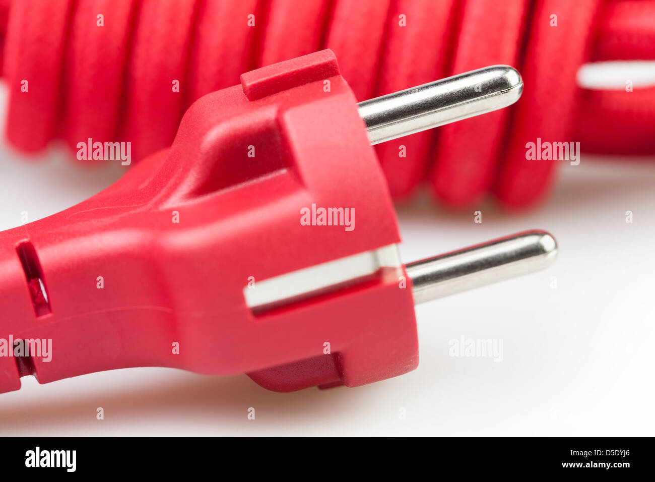 plug electric cord household full frame closeup - Stock Image