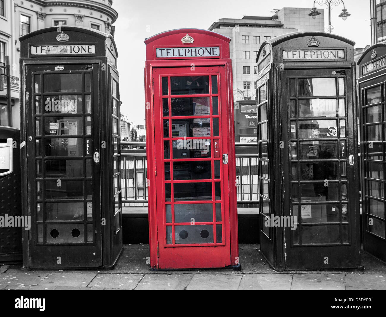 Telephone Boxes in central London - Stock Image