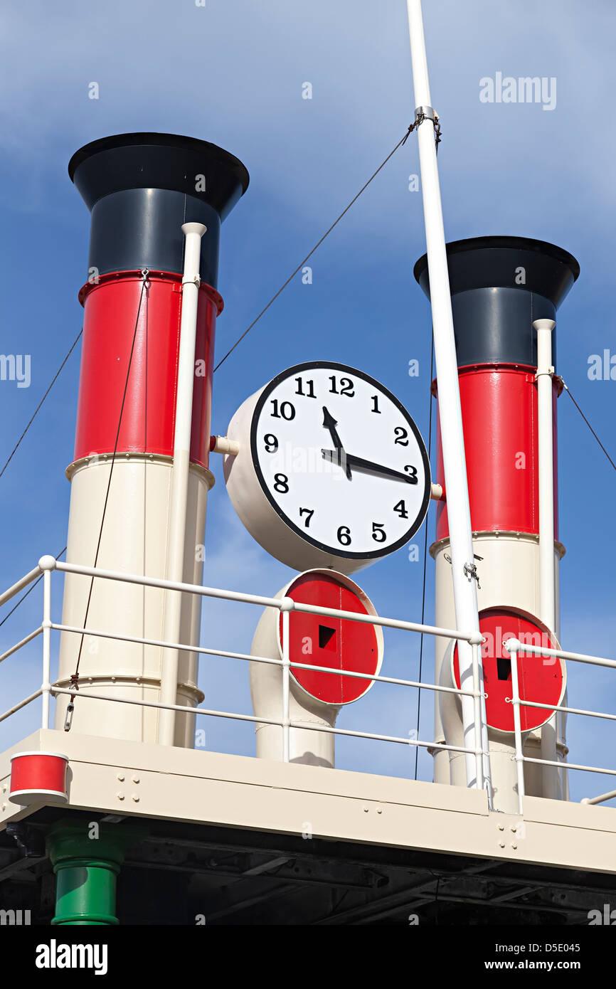 Steam powered clock, St Helier, Jersey, Channel Islands, UK - Stock Image