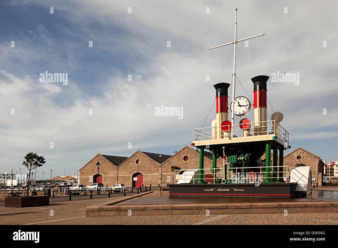 Steam powered clock teh Ariadne, St Helier, Jersey, Channel Islands, UK - Stock Image